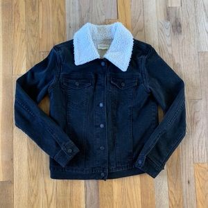 Black Denim Sherpa Jacket